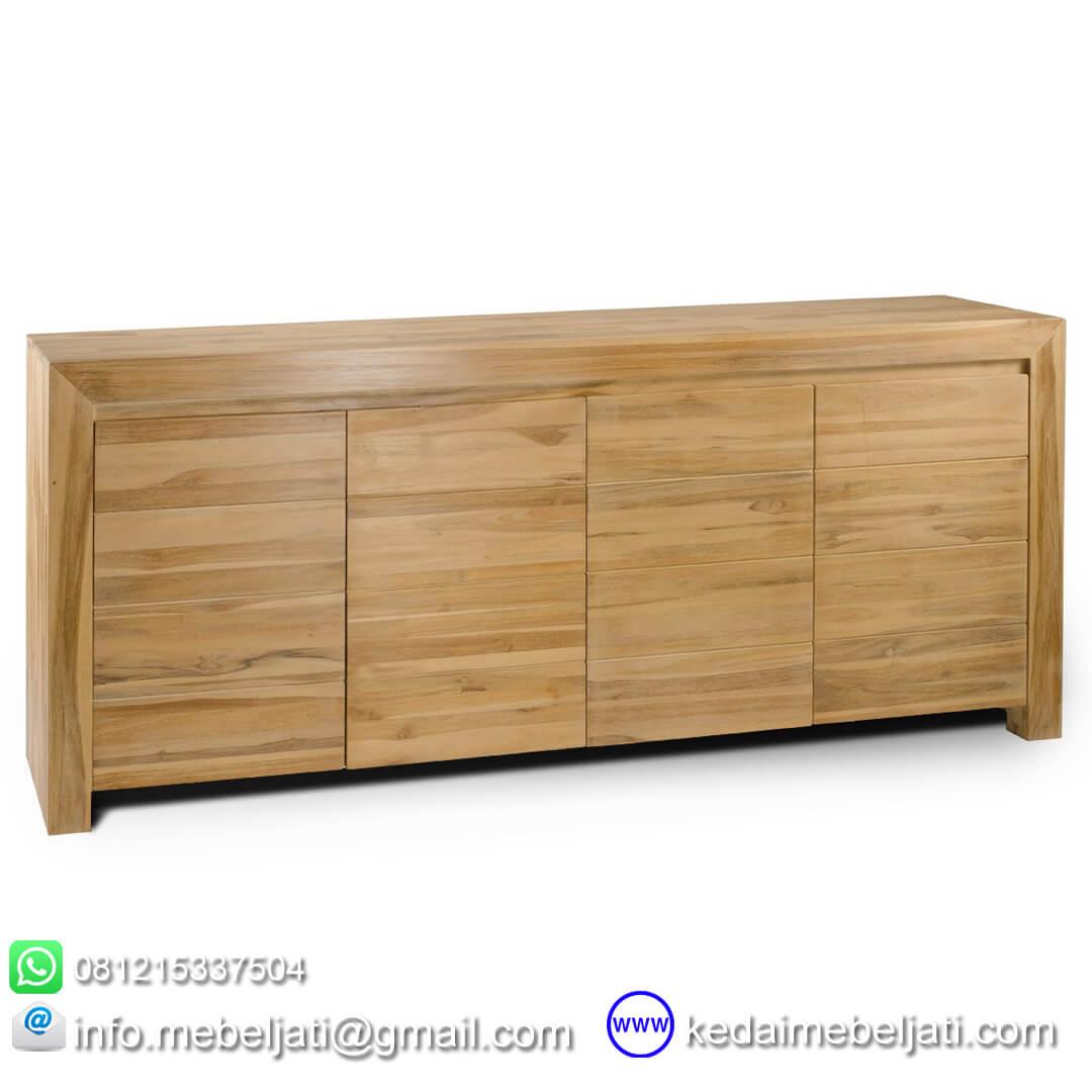 gambar buffet jati minimalis modern 4 pintu