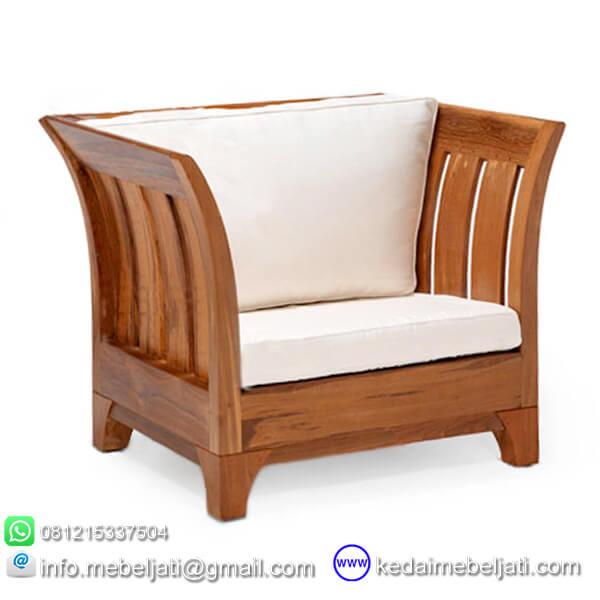 gambar kursi tamu jati minimalis karmina jok putih