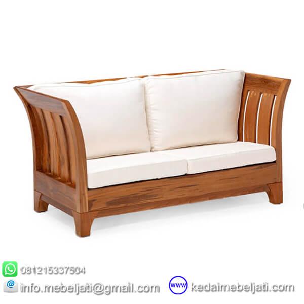 gambar sofa minimalis 2 dudukan karmina jok putih