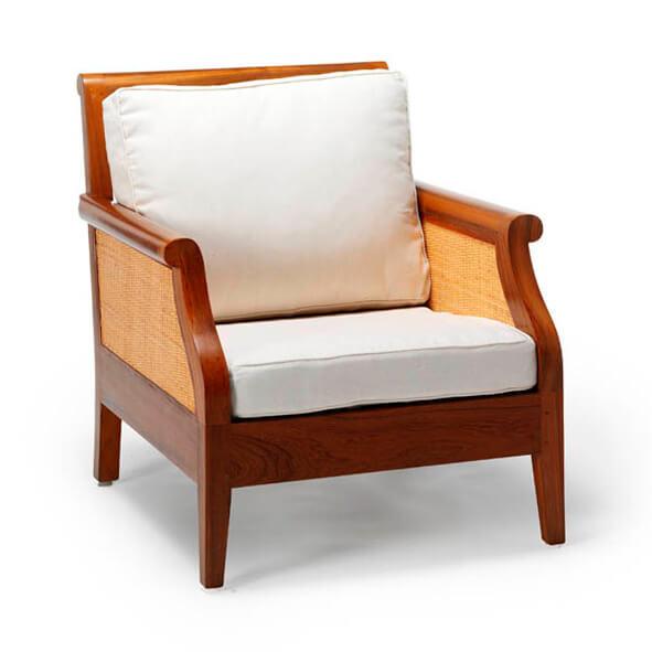 sofa jati minimalis andrea satu dudukan cushion putih