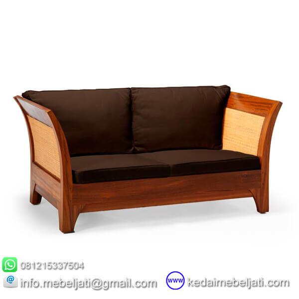 gambar jok hitam sofa jati minimalis 2 dudukan karmina rotan