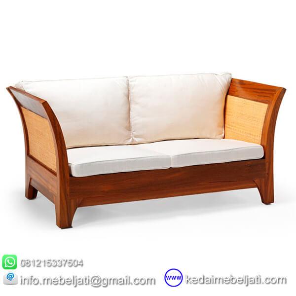 gambar jok putih sofa jati minimalis 2 dudukan karmina rotan