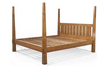 Tempat Tidur Minimalis Jati Kanopi Kerucut
