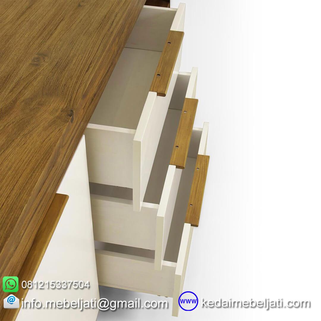 Bufet jati minimalis model terbaru KBF 070 detail laci samping
