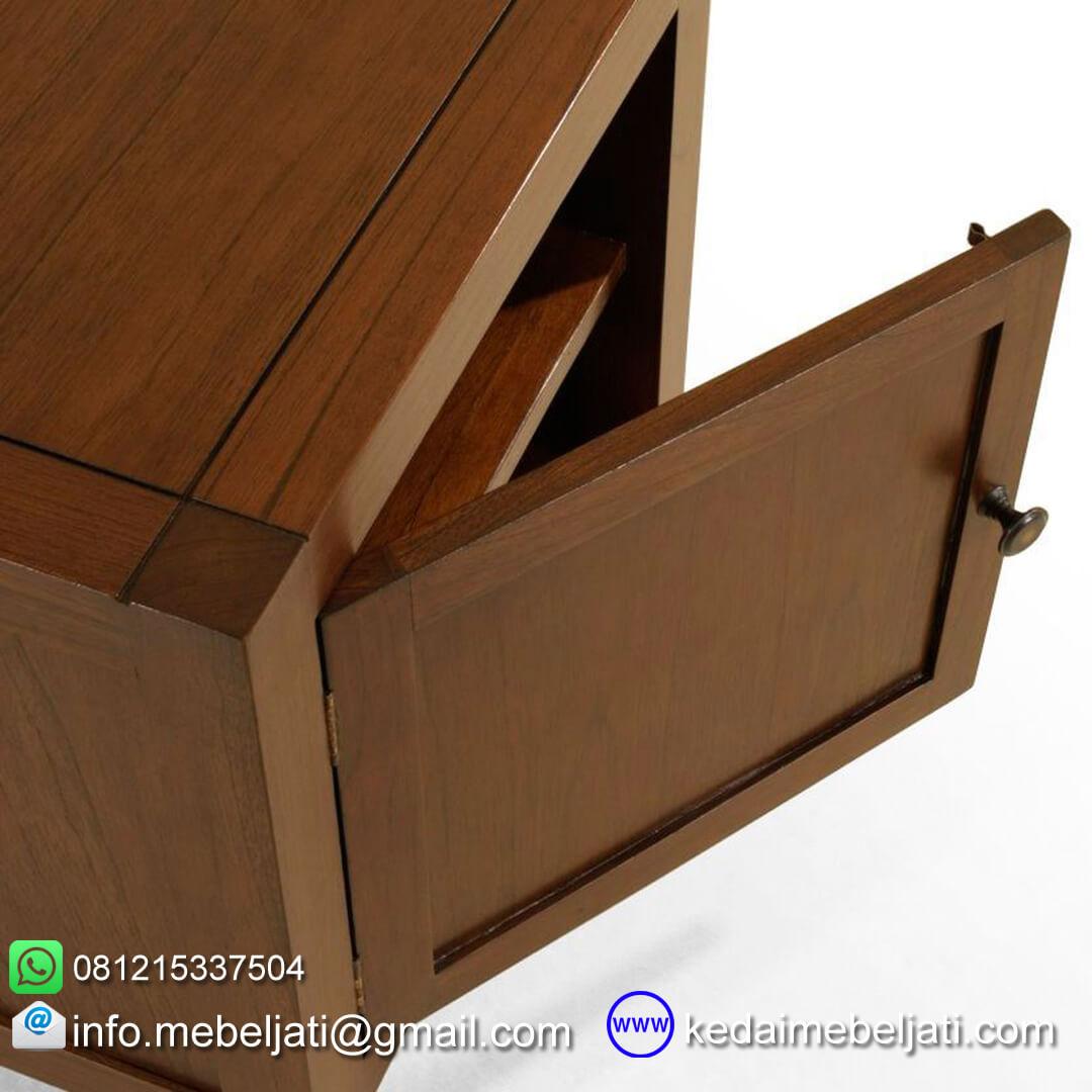 bufet TV jati minimalis sectional KTV 021 pintu terbuka