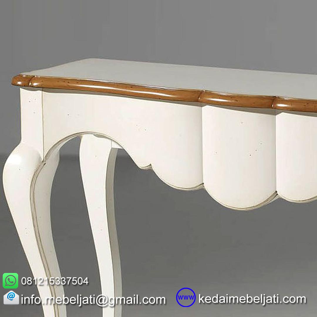 gambar featured meja konsul kayu mahoni design klasik KKK 053 detail lekukan