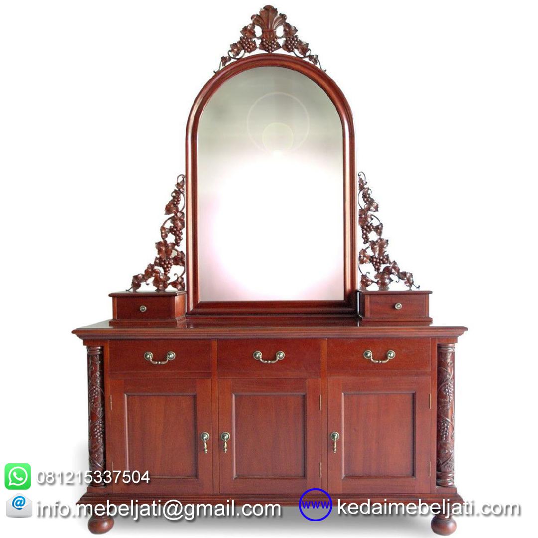 gambar meja rias klasik ukiran kayu mahoni KMR 003 depan