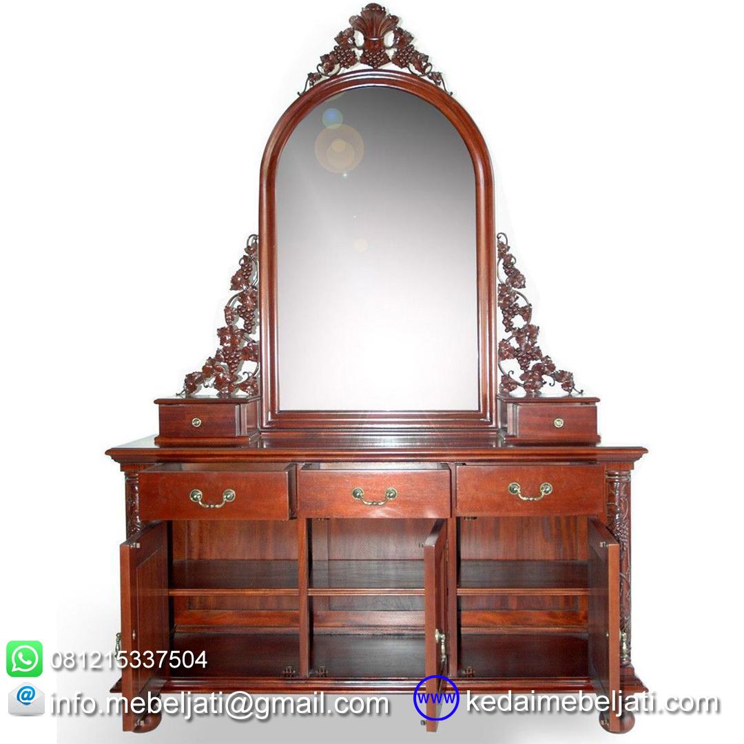 gambar meja rias klasik ukiran kayu mahoni KMR 003 terbuka