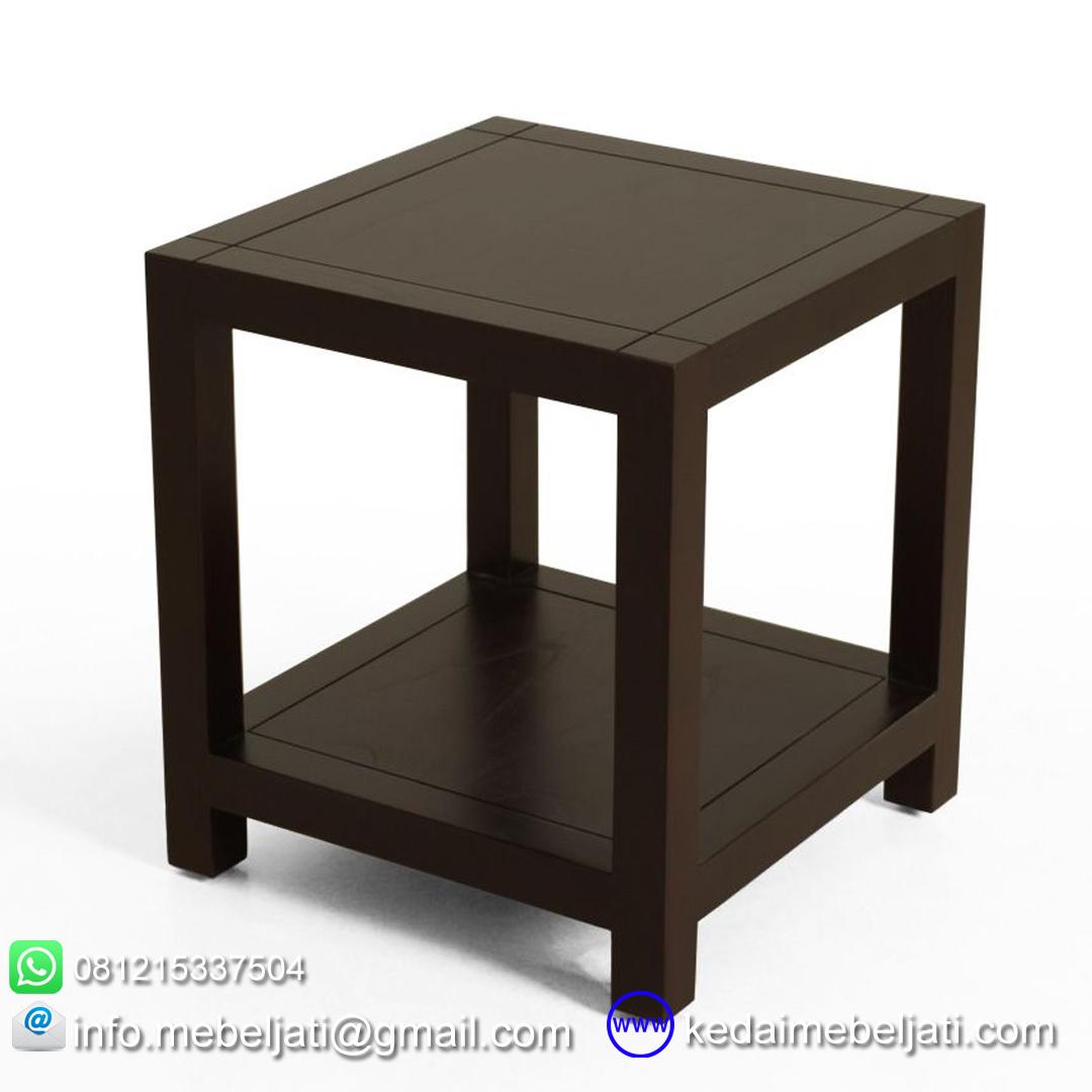 meja sudut kayu jati