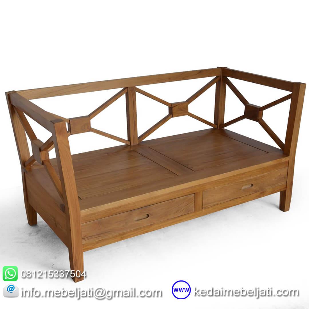 sofa kayu jati minimalis 2 dudukan KKS 026