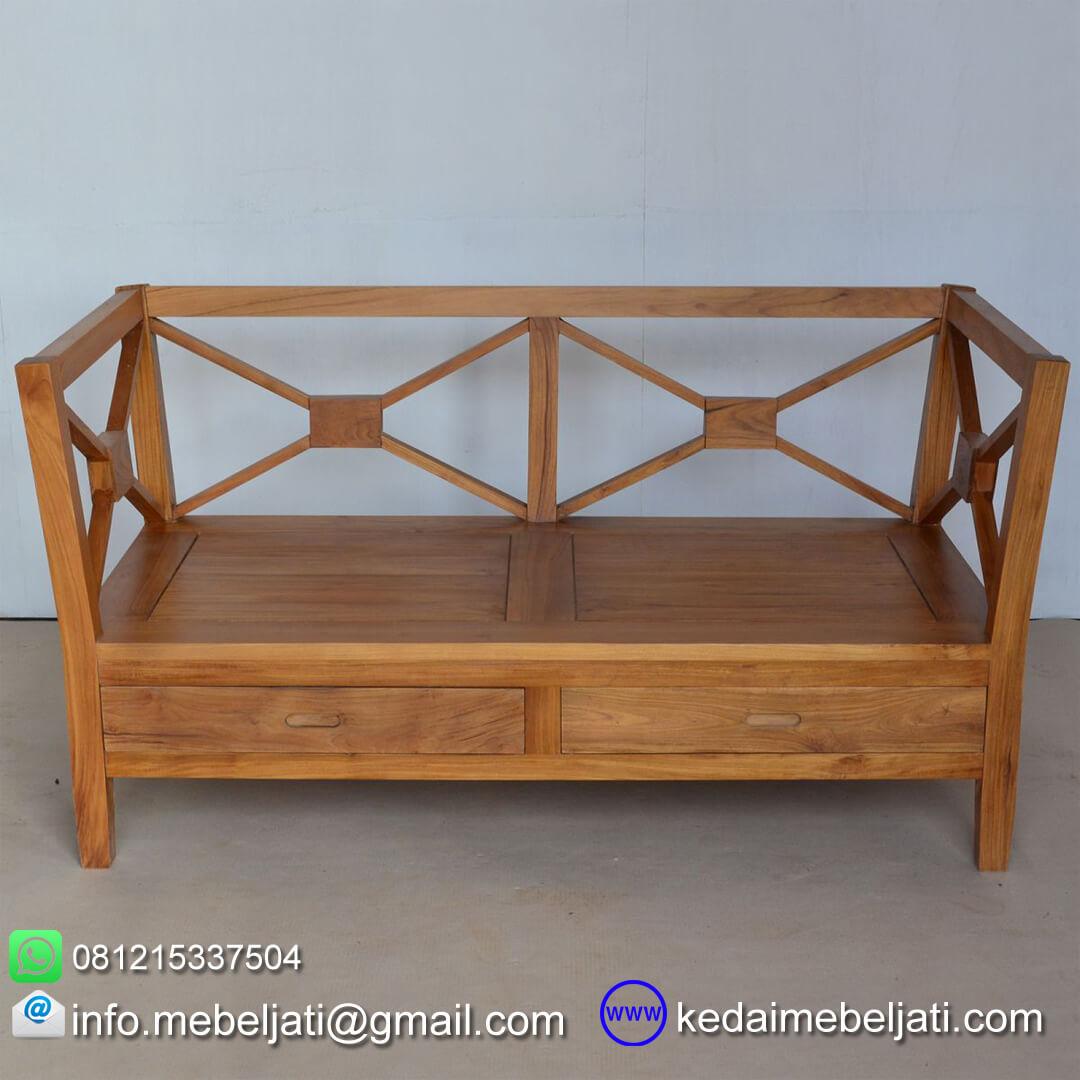 sofa kayu jati minimalis 2 dudukan KKS 026 KKS 026 depan