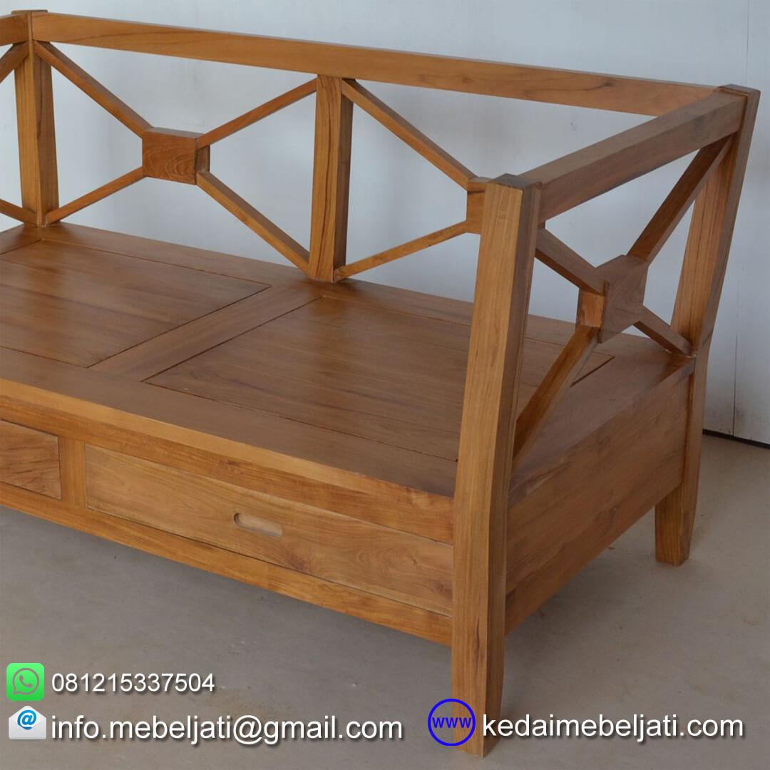 sofa kayu jati minimalis 2 dudukan KKS 026 samping