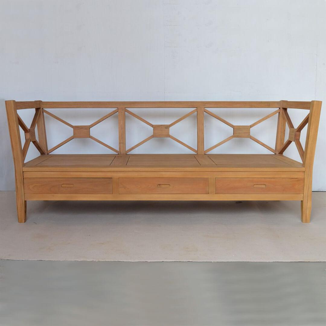 sofa minimalis kayu jati 3 dudukan KKS 027 depan