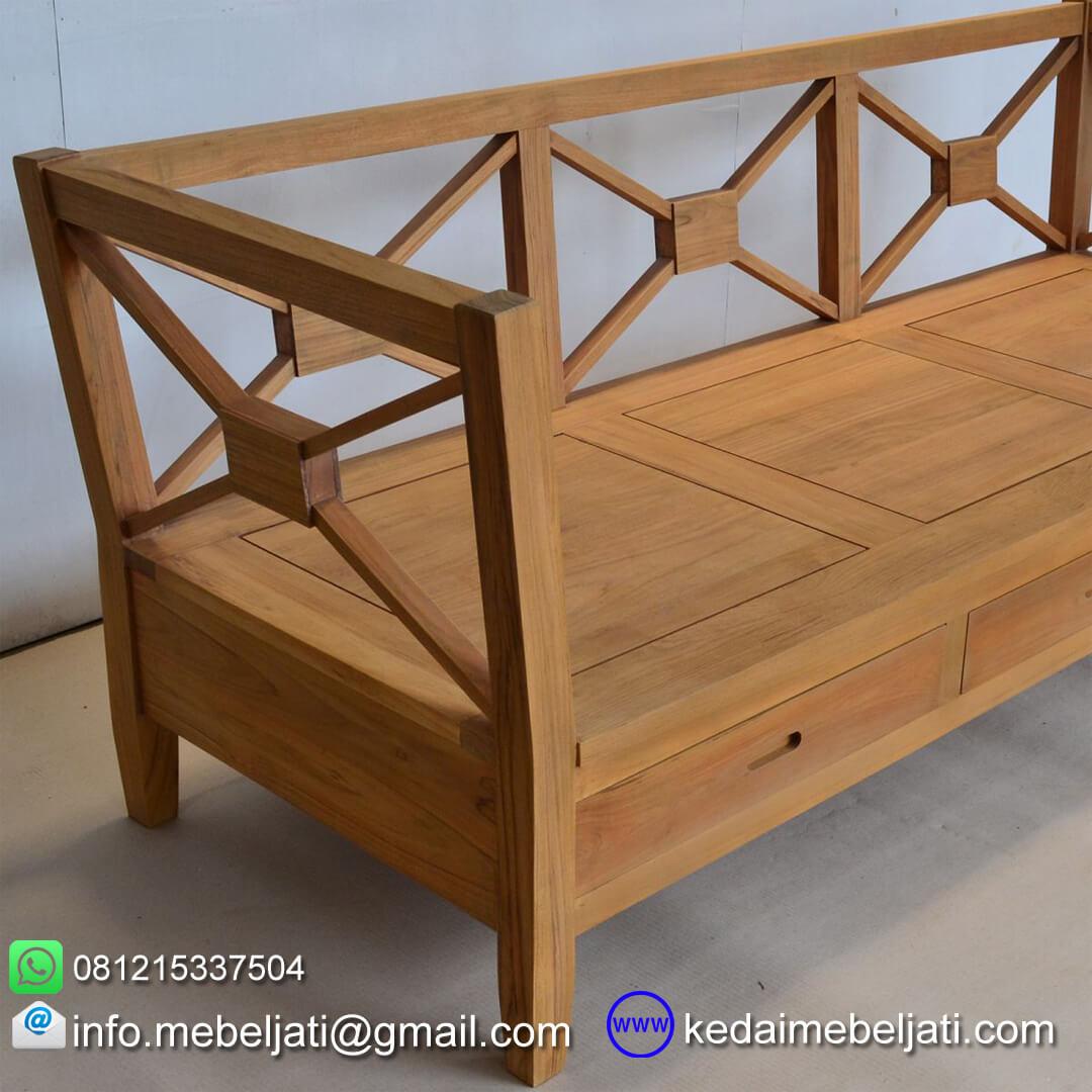 sofa minimalis kayu jati 3 dudukan KKS 027 samping