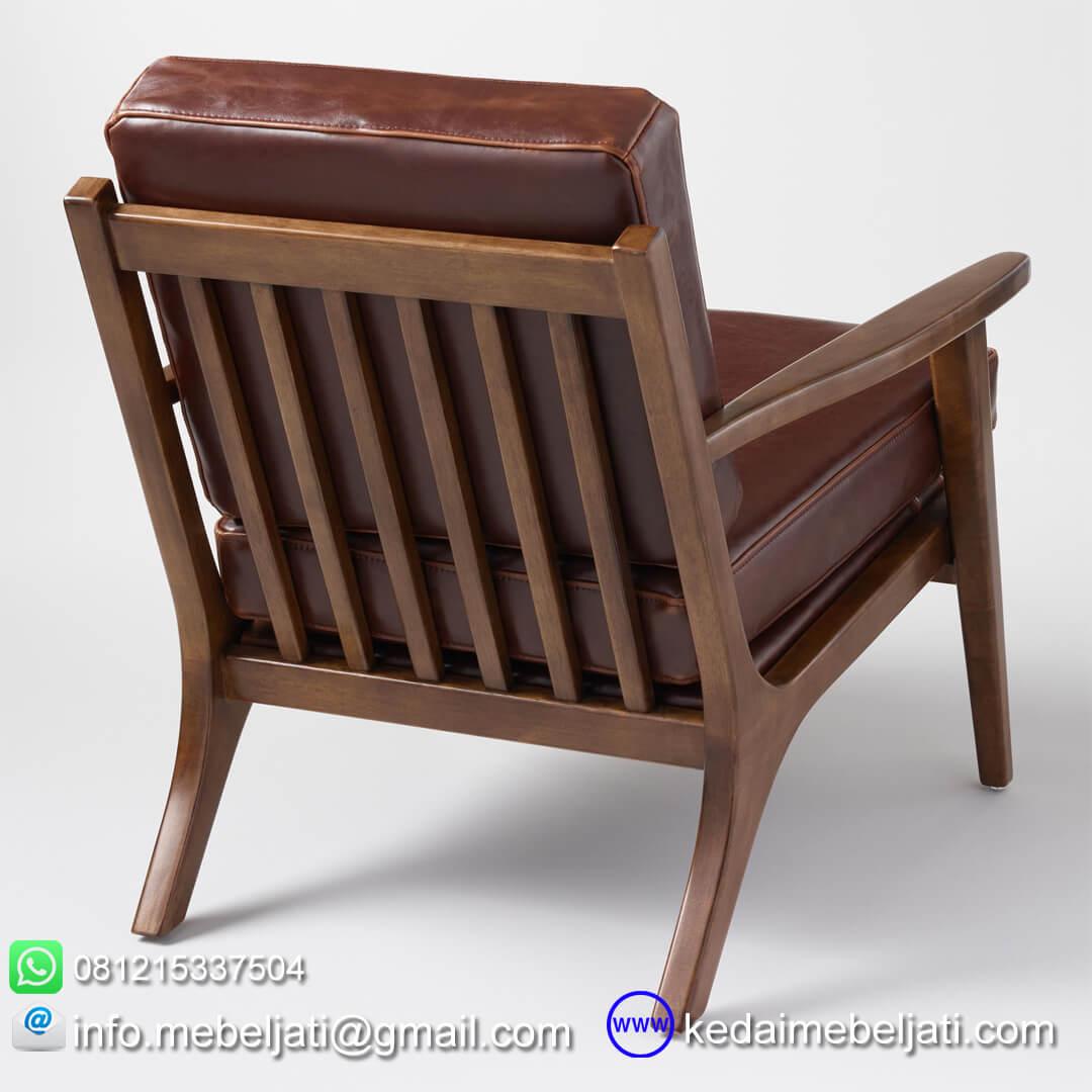 Kursi tamu vintage minimalis jok kulit tampak belakang