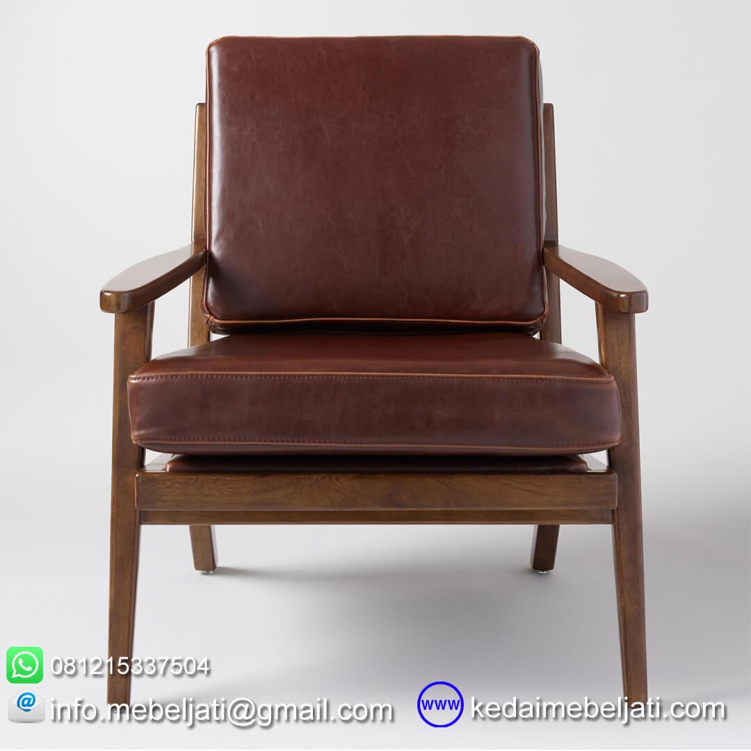 Kursi tamu vintage minimalis jok kulit tampak depan