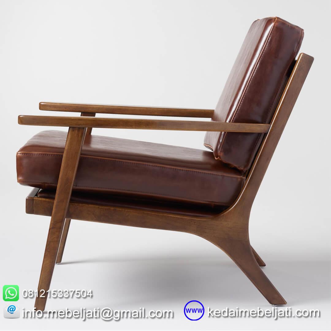 Kursi tamu vintage minimalis jok kulit tampak samping
