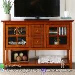 TV CABINET MODEL KLASIK SIMPLE DENGAN KACA