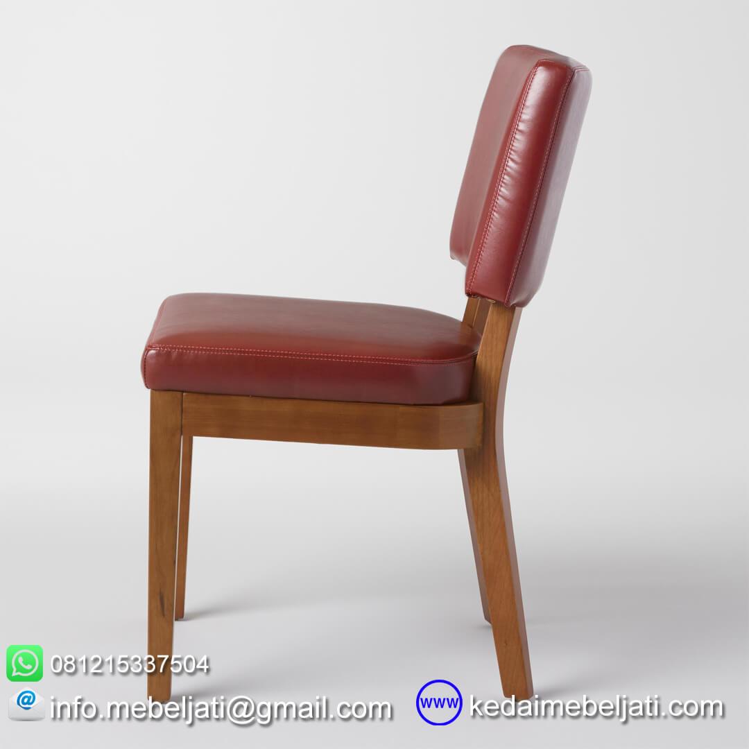 kursi makan jok maroon tampak samping