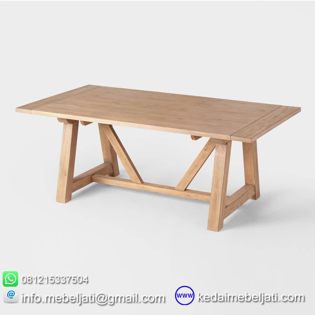 meja makan tarik jati minimalis country
