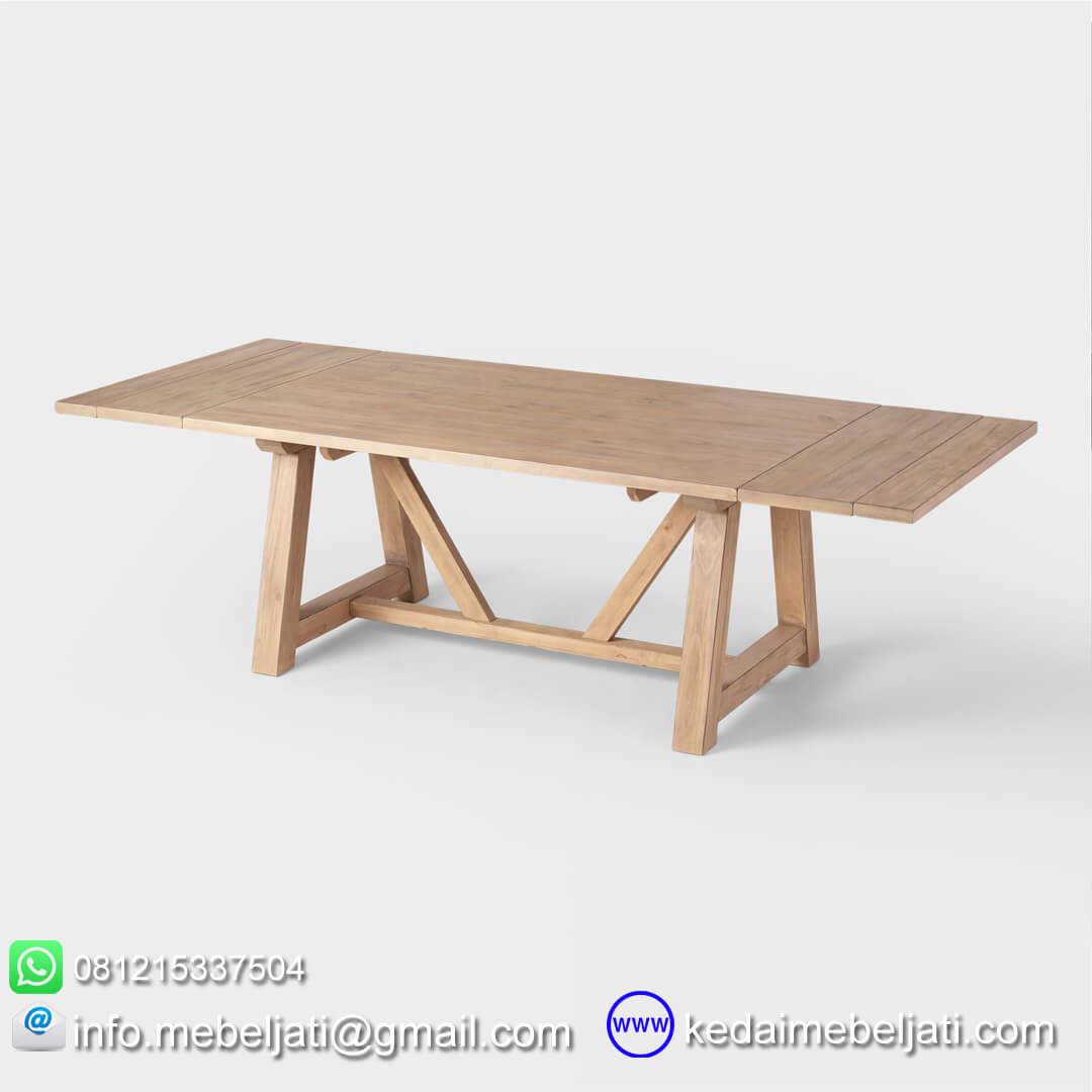 meja makan tarik jati minimalis tampak panjang