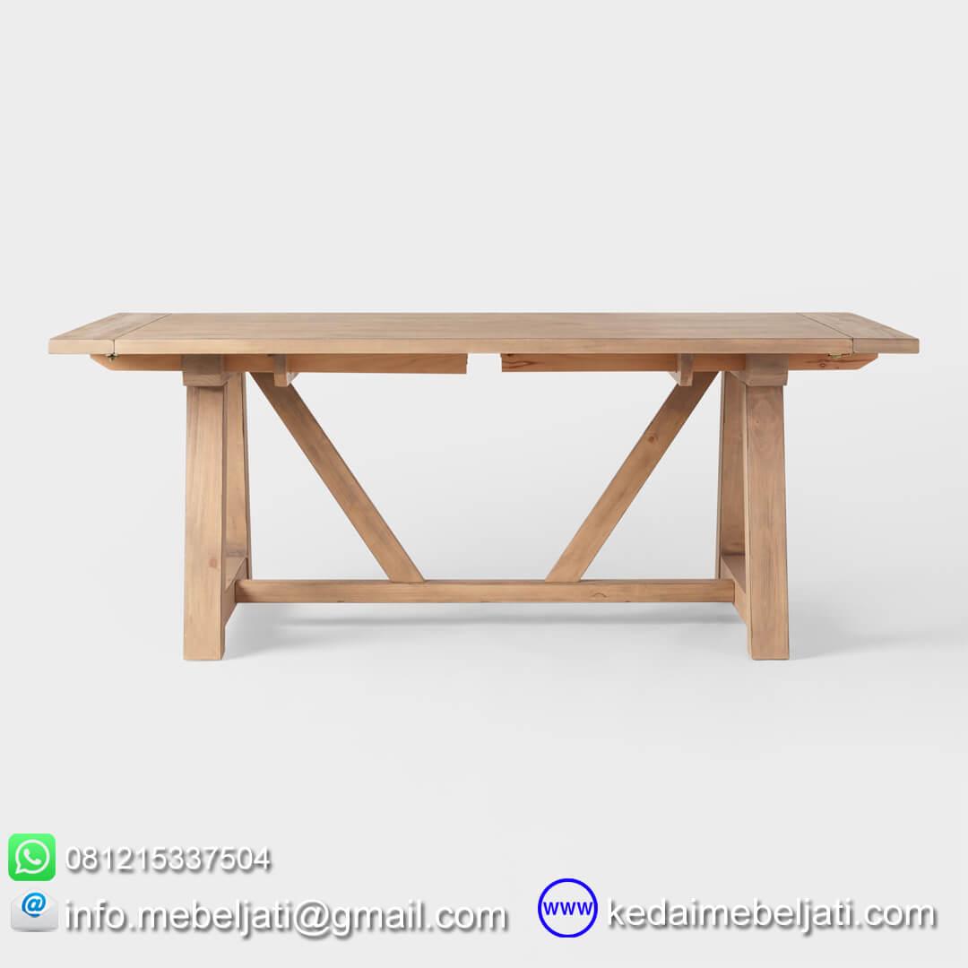 meja makan tarik jati minimalis tampak samping