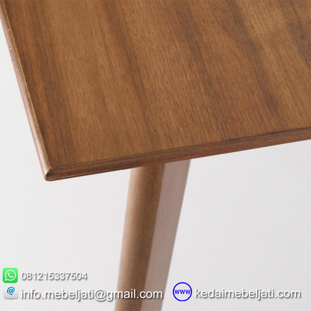 meja makan vintage jati minimalis detail daun meja