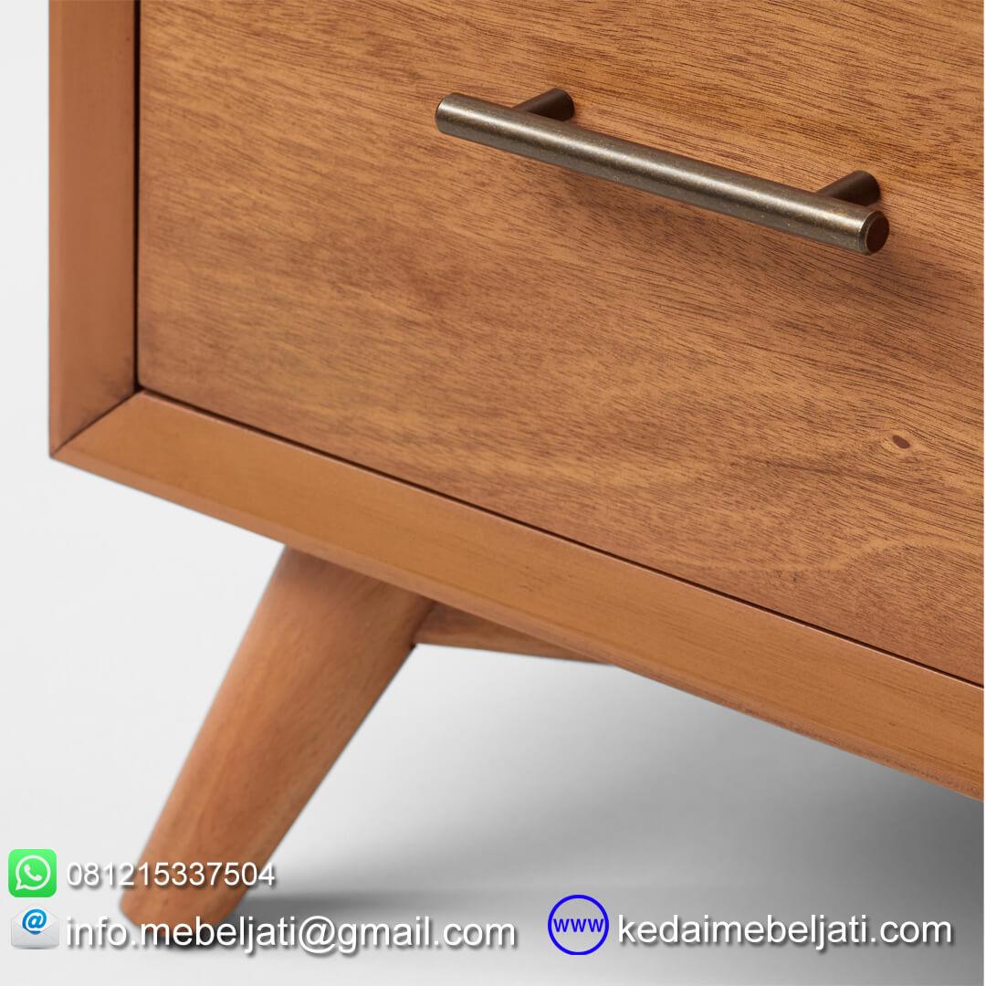 nakas drawer jati minimalis seri scandi 4 laci detail kaki