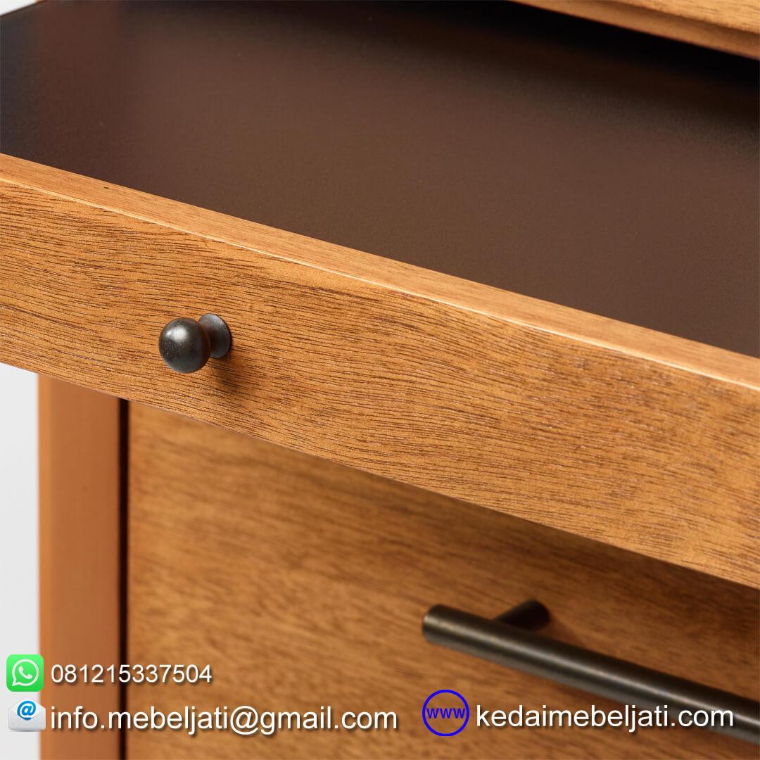 nakas drawer jati minimalis seri scandi 4 laci detail knob