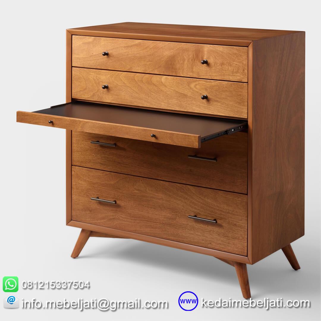 nakas drawer jati minimalis seri scandi 4 laci papan open