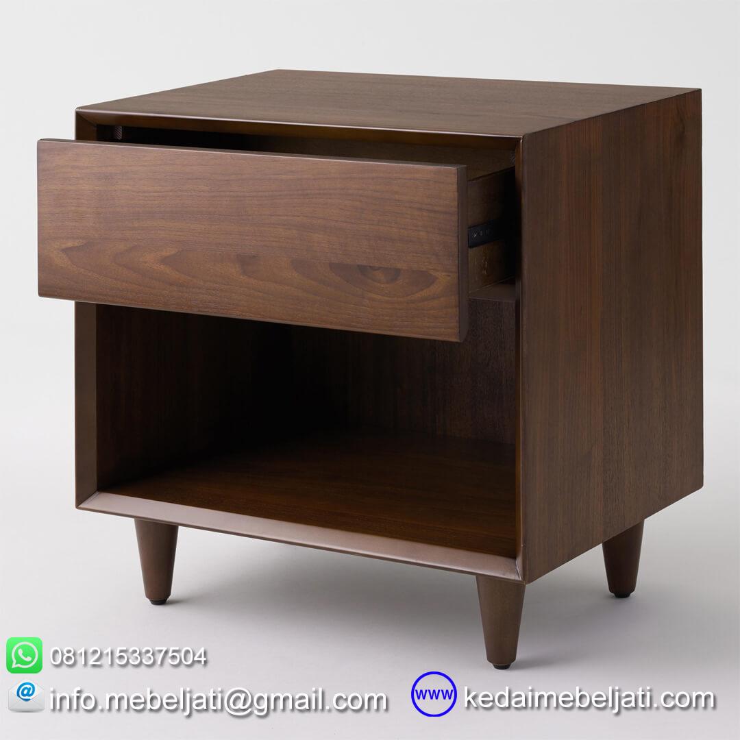 nakas modern minimalis kayu jati laci terbuka