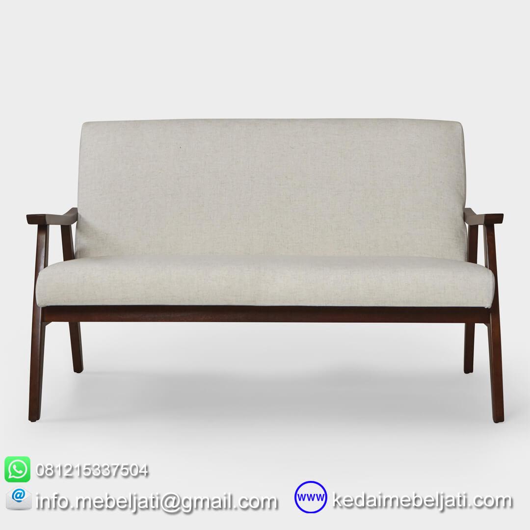 sofa jati minimalis retro tampak depan