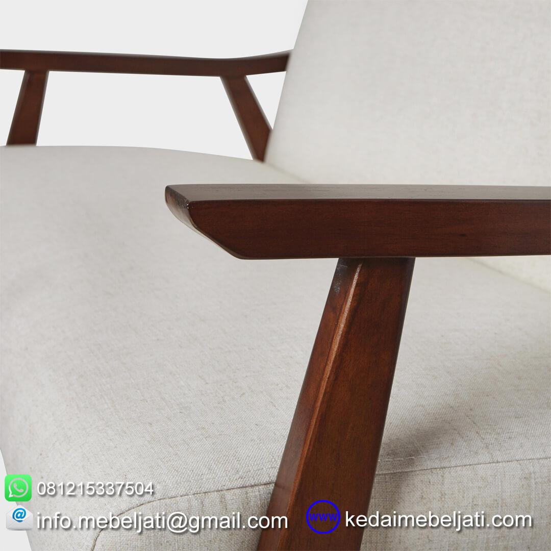 sofa jati minimalis retro tampak samping