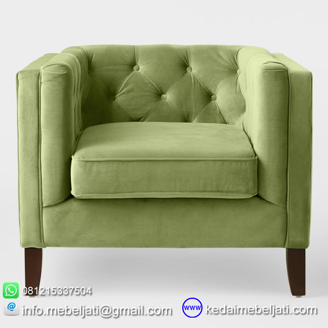 sofa minimalis gillian single seater tampak depan