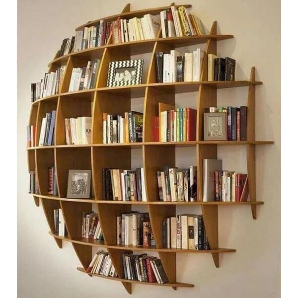 desain rak buku dinding unik